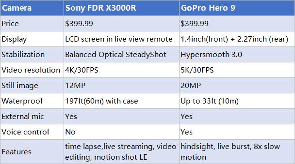Sony FDR X3000R vs GoPro