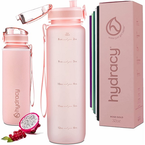 Hydra Pink Water Bottle with Time Marker
