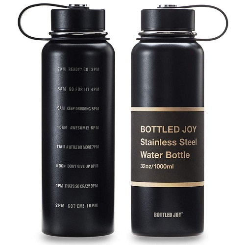 Insulated BPA-Free Metal Water Bottle with Time Markings